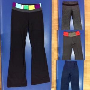 Assorted Lululemon groove and high-waisted pants.