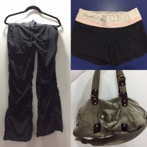 Lululemon studio pant & running shorts. LeSport Sac /Stella McCartney gym bag/backpack.